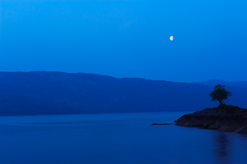 Moonrise over Loch Sunart, Highlands
