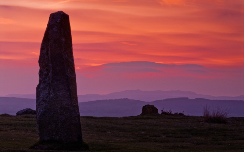 Sunset, Michell's Fold Stone Circle, Shropshire